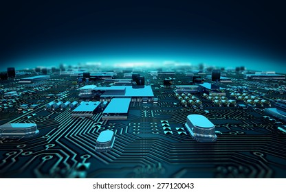 illustration circuit board depth of field