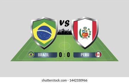 Illustration of circular flag of Brazil and Peru on the football field background. The concept of football match Brazil vs Peru.