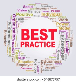 Illustration of circular shape wordcloud tags of best practice