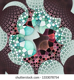 Illustration with circular and square pattern