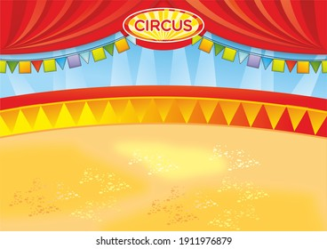 illustration of circus arena with flags, curtain. Yellow, red and orange colour. Ideal for poster, announcement, children's picture.