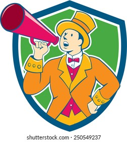 Illustration of circus ringleader ringmaster ring leader announcer wearing tall top hat  and bow tie suit speaking thru a bullhorn set inside crest shield shape on isolated background.