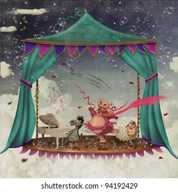 Illustration of a circus with tent and various characters