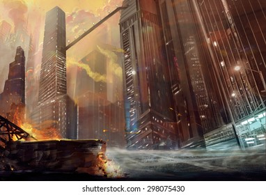 Illustration: The City after War. Realistic Style. Scene / Wallpaper Design.