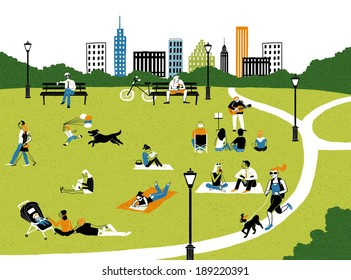 Illustration of city life in park