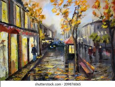Illustration of city street. Autumn