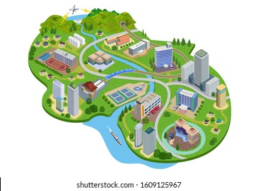 Illustration of the cityscape with various facilities