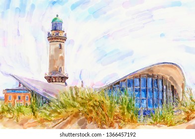 Illustration of cityscape in Warnemunde (Germany) at Baltic sea. Lighthouse and Tea Pot house.