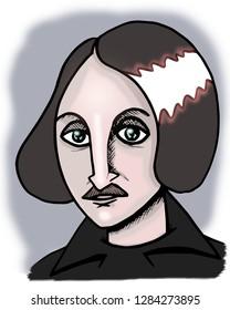 Illustration of classic russian writer Nikolai Gogol.