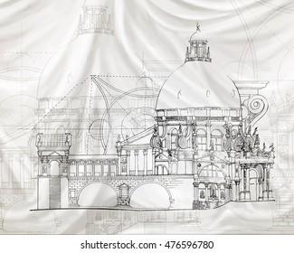 Illustration classical architecture textile effect