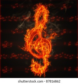 Illustration of clef on fire on the background of music score sheet