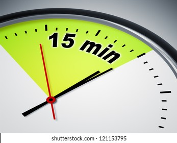 An illustration of a clock with the words 15 min
