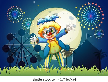 Illustration of a clown at the carnival