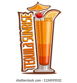Illustration of Cocktail Tequila Sunrise: garnish of umbrella, cherry and slice of orange on glass of tropical cocktail, design logo with yellow title - tequila sunrise, mocktail drink on white