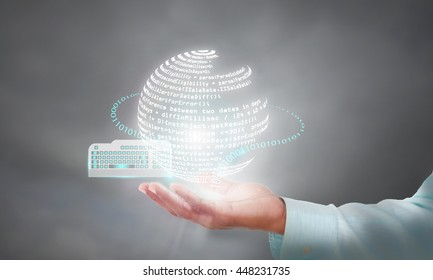Illustration of code orchestration during coding phase in a software development life cycle, Developer holding code in his hand for unit testing, review, debug and deployment