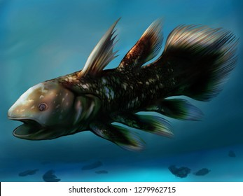 Illustration of coelacanth in ocean background