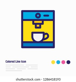 illustration of coffee machine icon colored line. Beautiful coffee element also can be used as coffeemaker icon element.