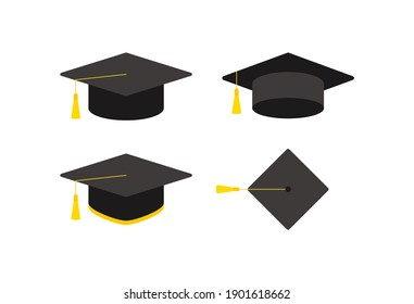 An illustration collection of bachelor cap icons used in elementary, high school, university, and graduation ceremonies.