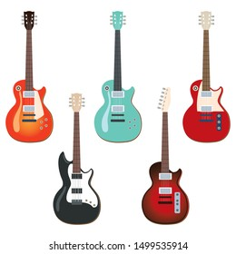 Illustration collection set of different color rock guitar