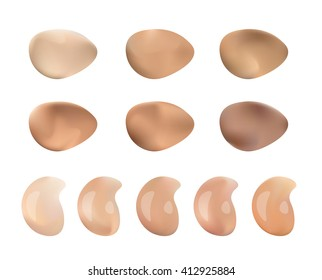 Illustration of Color Shades Palette For Foundation Make Up. Isolated On White Background.