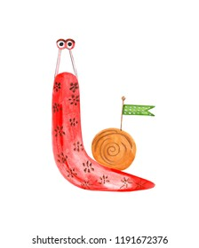 Illustration of colored cochlea decorated with watercolor painted isolated