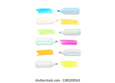 An illustration of colored highlighters set isolated on white background