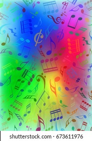 Illustration - Colorful background (rainbow) consisting of musical notes