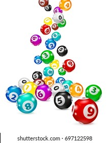 Illustration Colorful Bingo balls fall randomly. Lottery Number Balls Isolated. Colored balls isolated. Bingo ball. Bingo balls with numbers. Isolated illustration.