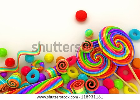 Illustration Of Colorful Candy For Wallpaper