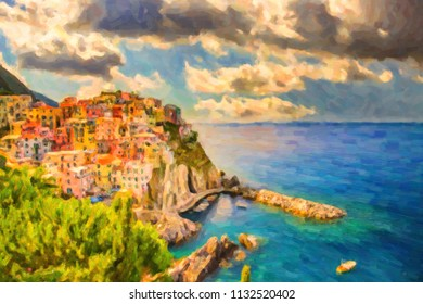 illustration of colorful fishing houses in Manarola, sea village in Cinque terre