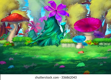 Illustration: The Colorful Forest with Huge Flowers. Mushroom, Flower, Gems on the Grass. Realistic Fantastic Cartoon Style Scene / Wallpaper / Background Design.