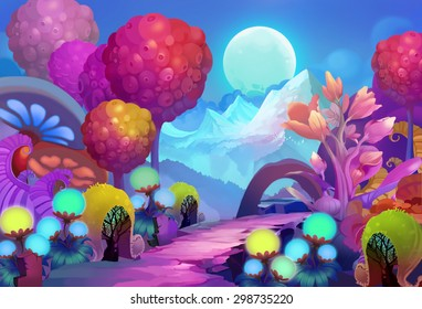 Illustration: The Colorful Forest on the other side of the Snow Mountain with Cold Moon Creeping up the Sky. Realistic / Cartoon Style. Scene / Wallpaper Design.