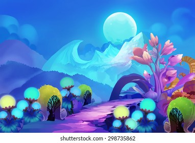 Illustration: The Colorful Forest on the other side of the Snow Mountain with Cold Moon Creeping up the Sky. Version 2 with some plants removed. Realistic / Cartoon Style. Scene / Wallpaper Design.