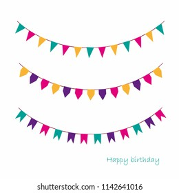 Illustration of Colorful Garlands on white background. Rainbow colors buntings and flags. Holiday set. Festive flags.