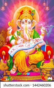 Illustration of colorful hindu lord Ganesha on decorative background- Graphical poster modern art 3D wallpaper