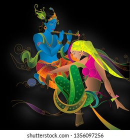 Illustration of colorful Lord Radha Krishna on black decorative background 3D wallpaper. Modern artwork graphical