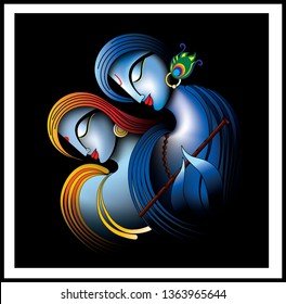 Illustration of colorful Lord Radha Krishna on black decorative background 3D wallpaper. Modern artwork graphical poster