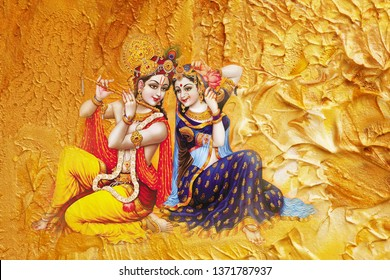 Illustration of colorful Lord Radha Krishna with flute on decorative abstract golden texture background 3D wallpaper. Modern artwork graphical poster