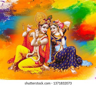 Illustration of colorful Lord Radha Krishna with flute on decorative abstract background 3D wallpaper. Modern artwork graphical poster