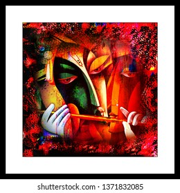 Illustration of colorful Lord Radha Krishna with flute decorative abstract red background 3D wallpaper. Modern artwork graphical frame poster