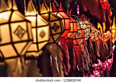 Illustration of colorful and traditional lanterns during Loy Krathong festival in Thailand, Asia, colored light decoration background