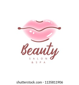 Illustration of colorful womens lips. Abstract  logo sign design. Trendy concept for beauty salon, cosmetics product, lipstick label, cosmetology procedures, makeup stylist.