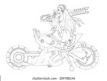 Illustration: Coloring Book Series: The Beautiful Bounty Hunter and Her Motorcycle. Soft thin line. Print it and bring it to Life with Color! Fantastic Outline / Sketch / Line Art Design.