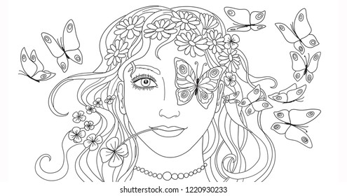 Illustration, Coloring page, Woman face with flying butterflies and cloverleaf and flowers in long hair