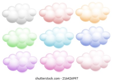 Illustration of the colourful clouds on a white background