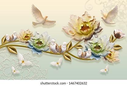 Illustration of colourful flowers, birds, butterflies wallpaper background