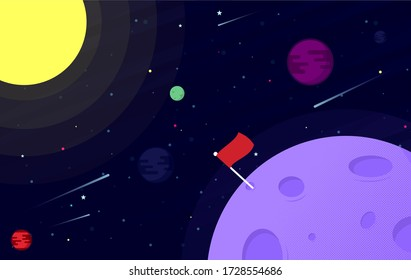 Illustration of colourful open space planets, stars and comets. Space background with abstract shape and planets.