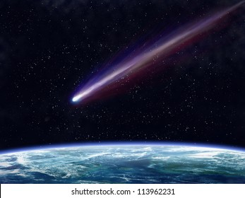 Illustration of a comet flying through space close to the earth