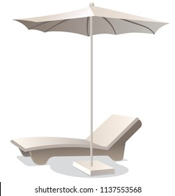 illustration of comfortable lounge chair with umbrella