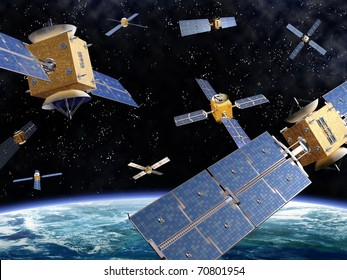 Illustration of competing satellites in orbit around the earth